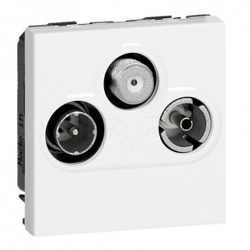 TV socket Arteor - TV-R-SAT shielded - 0-2400 Hz - 2 modules - white