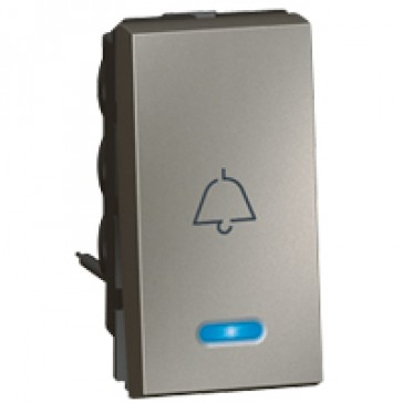 1-way push-button Arteor - with locator and bell symbol - 1 module - magnesium