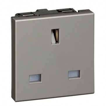 Socket Arteor - BS 1363 - 13 A - 2P+E - 2 modules - magnesium