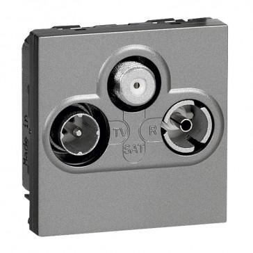 TV socket Arteor - TV-R-SAT shielded - 0-2400 Hz - 2 modules - magnesium