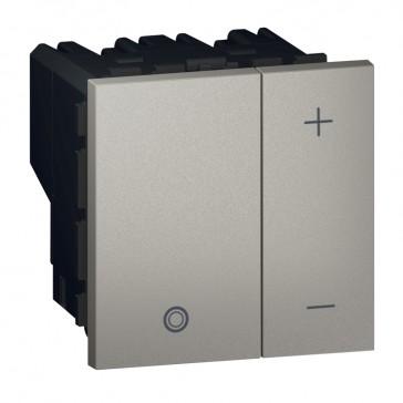 Push-button dimmer Arteor - for ballast 0-10 V - 2 square modules - magnesium