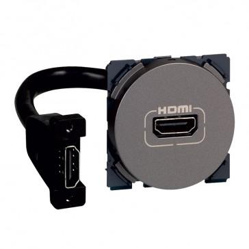 HDMI socket Arteor - preconnected - 2 modules - magnesium