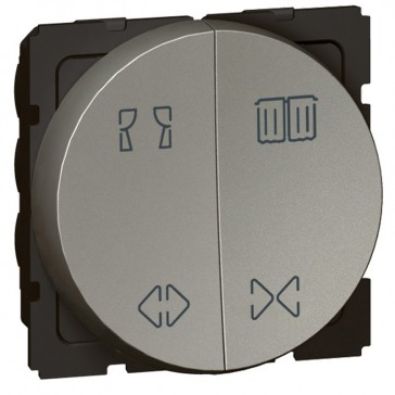 Double switch Arteor for curtain control - 10 A - 2 round modules - magnesium