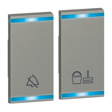 Square key cover Arteor - DO NOT DISTURB+PLEASE CLEAN THE ROOM - magnesium