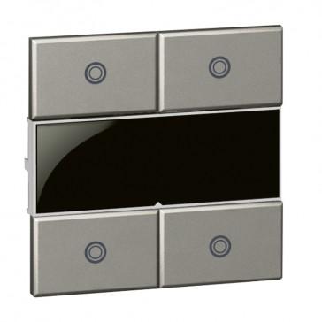 Square key cover Arteor Radio/ZigBee - for 4-scenario controller - magnesium