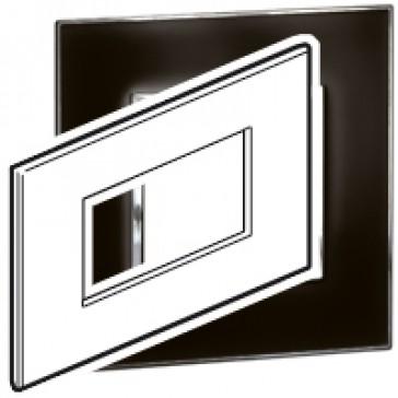 Plate Arteor - Italian/French/German standard - square - 4 modules - mirror black
