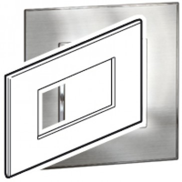 Plate Arteor - Italian/French/German standard - square - 4 modules - stainless steel
