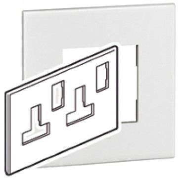 Plate Arteor - BS - square - for switched sockets 2-gang - white