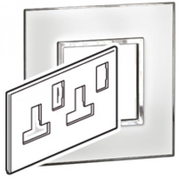 Plate Arteor - BS - square - for switched sockets 2-gang - mirror white