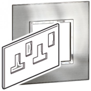 Plate Arteor - BS - square - for switched sockets 2-gang - stainless style