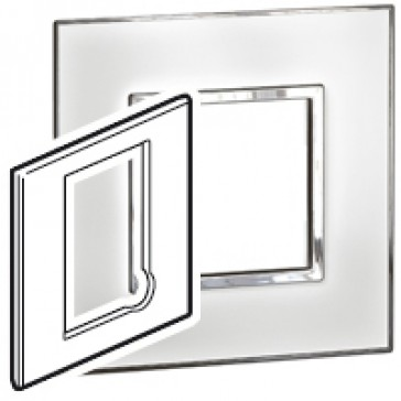 Plate Arteor - BS - square - for fused connection units - mirror white