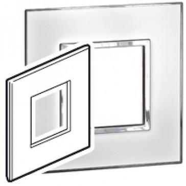 Plate Arteor - British standard - square - 2 modules - mirror white