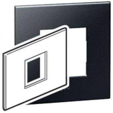Plate Arteor - Italian / US standard - square - 2 modules - graphite