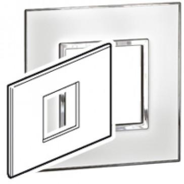 Plate Arteor - Italian / US standard - square - 2 modules - mirror white