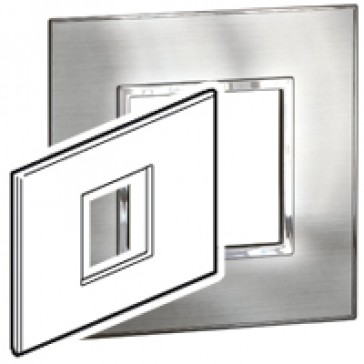 Plate Arteor - Italian / US standard - square - 2 modules - stainless steel