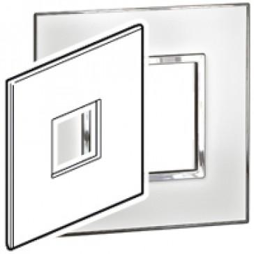 Plate Arteor - US standard - square - 2 modules - 4''x4'' - mirror white
