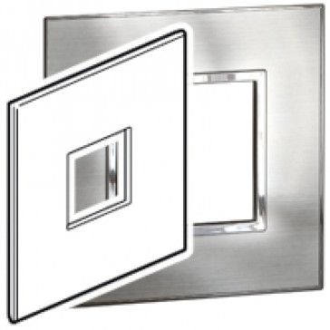 Plate Arteor - US standard - square - 2 modules - 4''x4'' - stainless steel