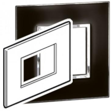 Plate Arteor - Italian / US standard - square - 3 modules - mirror black