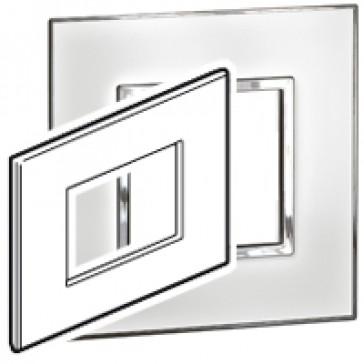 Plate Arteor - Italian / US standard - square - 3 modules - mirror white