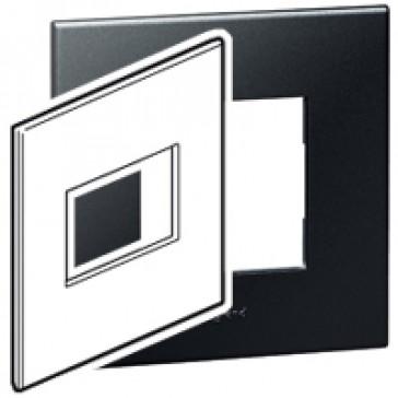 Plate Arteor - American standard - square - 3 modules - 4''x4'' - graphite