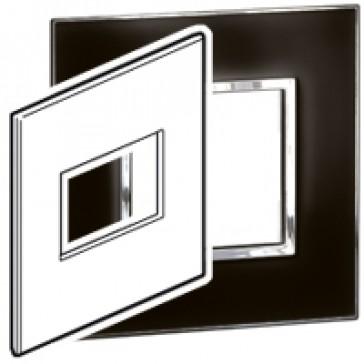 Plate Arteor - US standard - square - 3 modules - 4''x4'' - mirror black