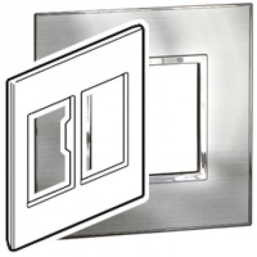 Plate Arteor - US standard - square - 2x3 modules - 4''x4'' - stainless steel