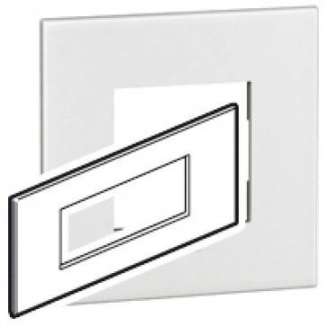 Plate Arteor - Italian/French/German standard - square - 6 modules - white