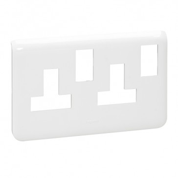 Dedicated plate for trunking Arteor - for 2-gang 13 A switched socket - white