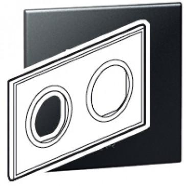 Plate Arteor - French/German standard - round - 2 x 2 modules - graphite