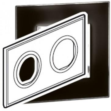Plate Arteor - French/German standard - round - 2 x 2 modules - mirror black