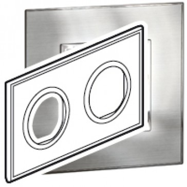 Plate Arteor - French/German standard - round - 2 x 2 modules - stainless steel