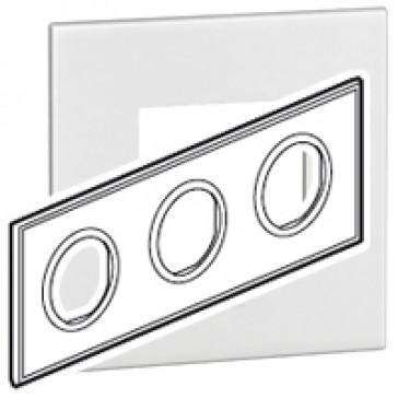 Plate Arteor - French/German standard - round - 3 x 2 modules - white