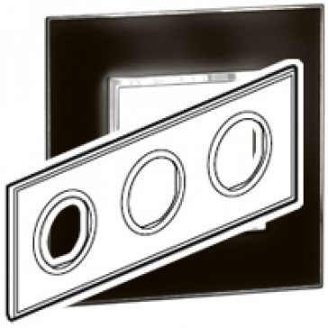 Plate Arteor - French/German standard - round - 3 x 2 modules - mirror black