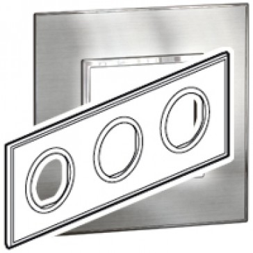Plate Arteor - French/German standard - round - 3 x 2 modules -stainless steel