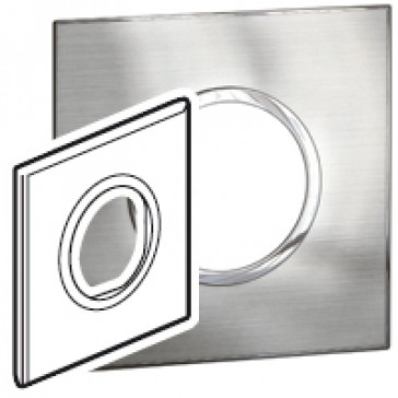 Plate Arteor - British standard - round - 2 modules - stainless style