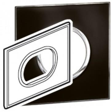 Plate Arteor - Italian / US standard - round - 3 modules - mirror black