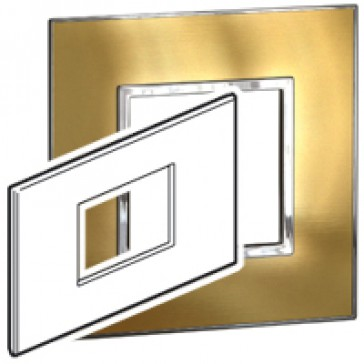 Plate Arteor - British standard - square - 3 modules - gold brass