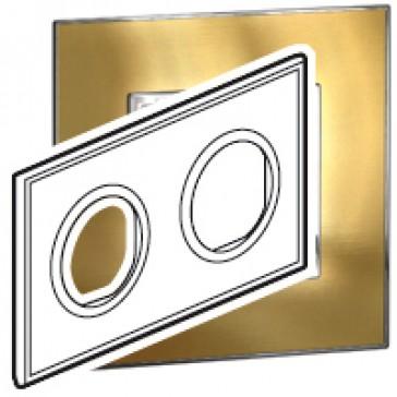 Plate Arteor - French/German standard - round - 2 x 2 modules - gold brass