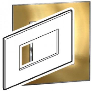 Plate Arteor - Italian/French/German standard - square - 4 modules - gold brass