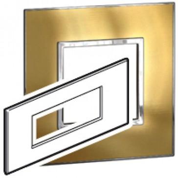 Plate Arteor - Italian/French/German standard - square - 6 modules - gold brass