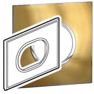 Plate Arteor - Italian / US standard - round - 3 modules - gold brass
