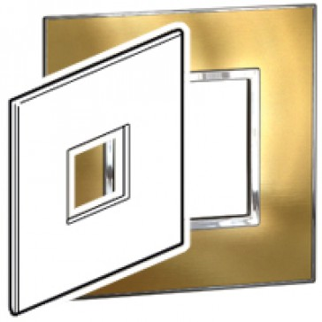 Plate Arteor - US standard - square - 2 modules - 4''x4'' - gold brass