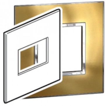 Plate Arteor - US standard - square - 3 modules - 4''x4'' - gold brass