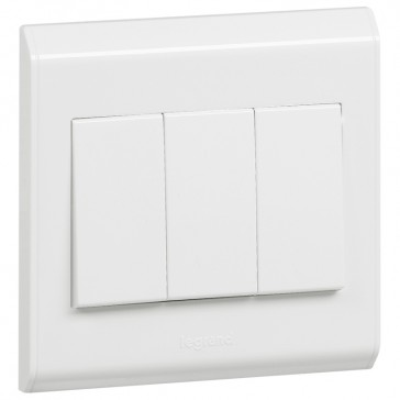 Single pole switch Belanko - 3 gang - 2-way - 10 AX 250 V~ - large rocker