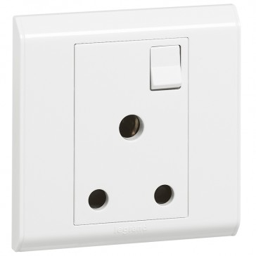 BS socket outlet Belanko - 1 gang Single Pole switched + neon - 15 A 250 V~