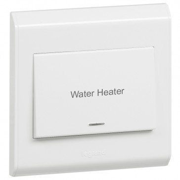 """Double pole switch Belanko - 1 way switch + neon+ earth connection + """"Water heater"""" - 20 A"""
