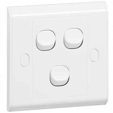 Single pole switch Belanko - 3 gang - 1-way switch - small rocker