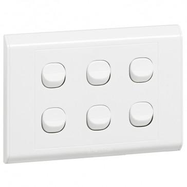 Single pole switch Belanko - 6 gang - 1-way switch - small rocker