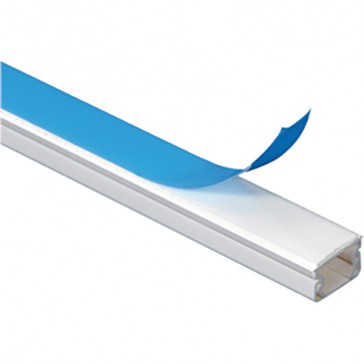 Cable guide - 16 x 16 mm - L. 2.10 m - with adhesive - white