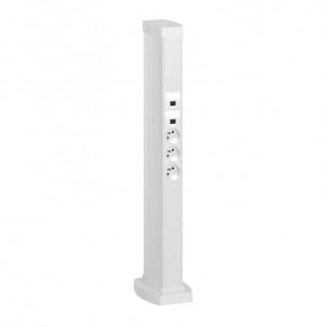 Snap-on mini-column - 4 compartments - height 0.68 m - aluminium body - PVC covers - white finish